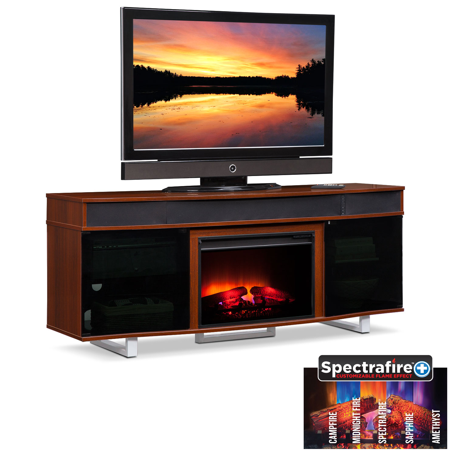 "Entertainment Furniture - Pacer 72"" Traditional Fireplace TV Stand with Sound Bar - Cherry"