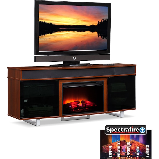 Pacer 72 Traditional Fireplace Tv Stand With Sound Bar Cherry