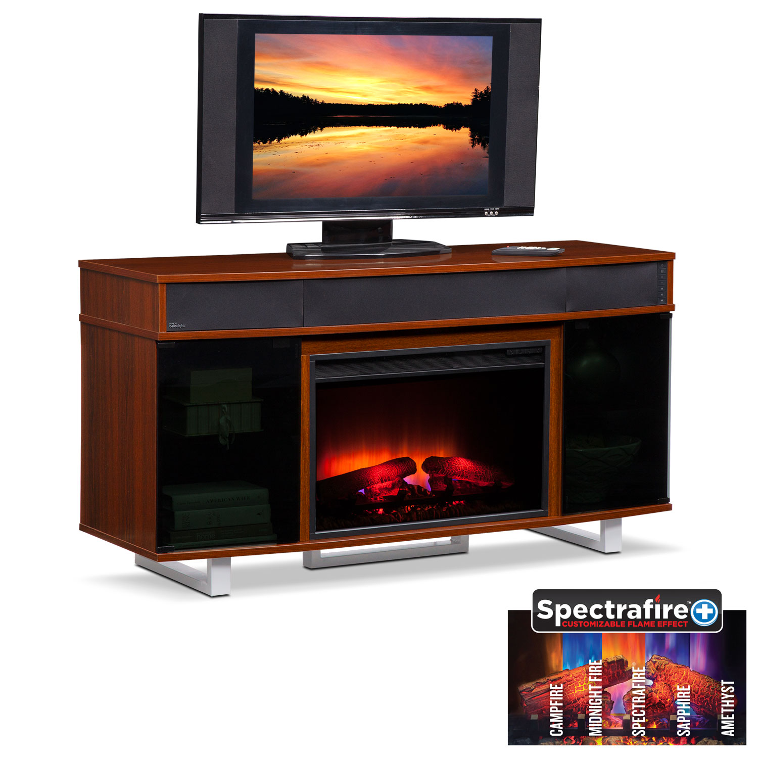 """Entertainment Furniture - Pacer 56"""" Traditional Fireplace TV Stand with Sound Bar - Cherry"""