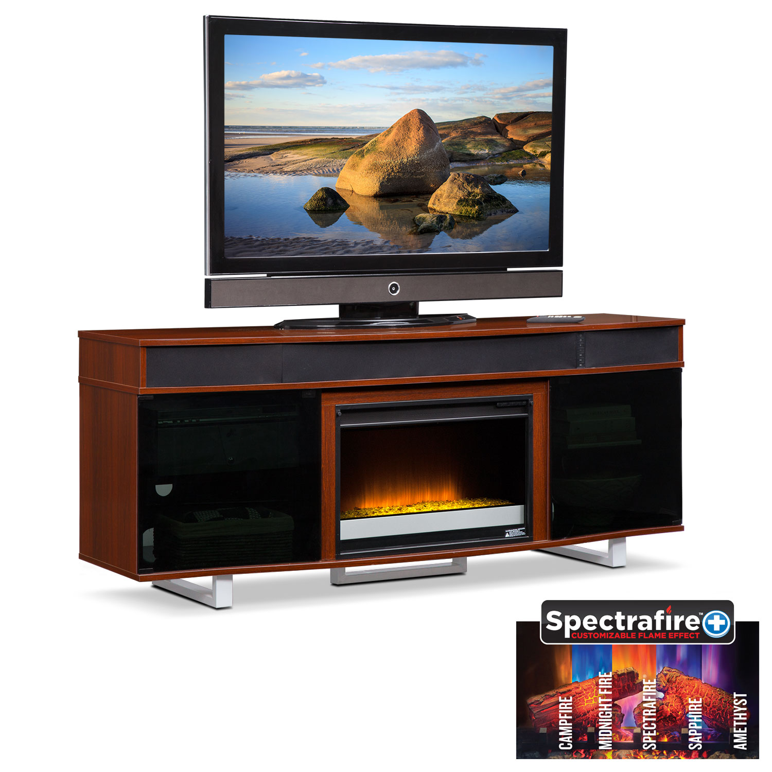"Entertainment Furniture - Pacer 72"" Contemporary Fireplace TV Stand with Sound Bar - Cherry"