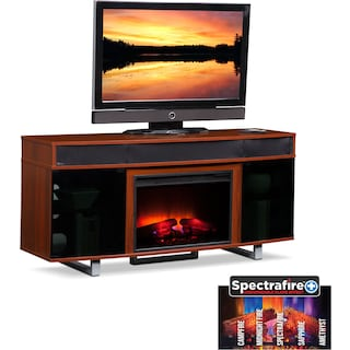 "Pacer 64"" Traditional Fireplace TV Stand with Sound Bar - Cherry"