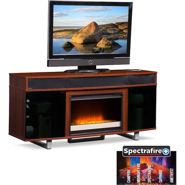 "Entertainment Furniture - Pacer 64"" Contemporary Fireplace TV Stand with Sound Bar - Cherry"