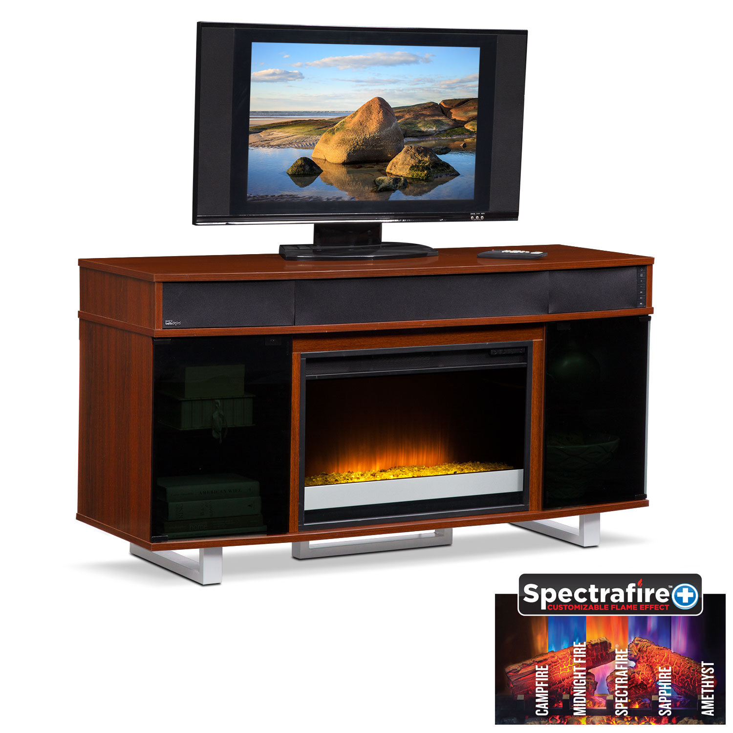 "Pacer 56"" Contemporary Fireplace TV Stand with Sound Bar ..."
