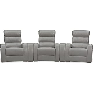 Bravo 5-Piece Power Reclining Home Theater Sectional - Gray