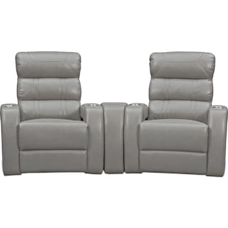 Bravo 3-Piece Power Reclining Home Theater Sectional - Gray