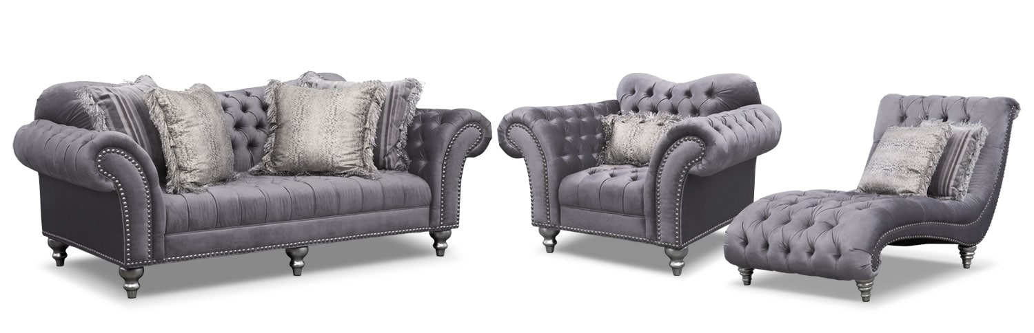 Brittney Sofa, Chaise and Chair Set - Gray