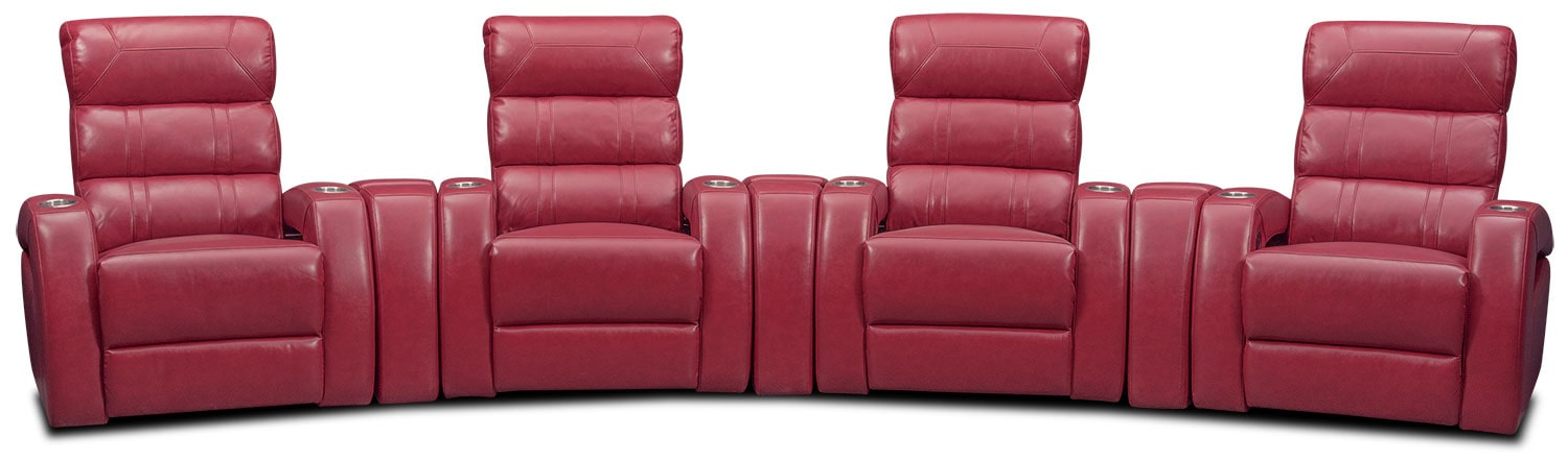 Living Room Furniture - Bravo 7-Piece Power Reclining Home Theater Sectional - Red