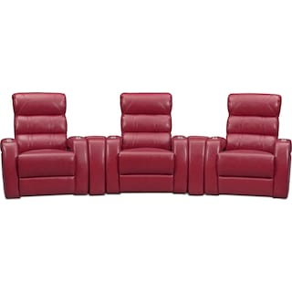 Bravo 5-Piece Power Reclining Home Theater Sectional - Red