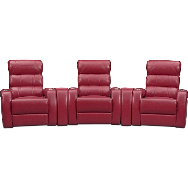 Living Room Furniture - Bravo 5-Piece Power Reclining Home Theater Sectional - Red