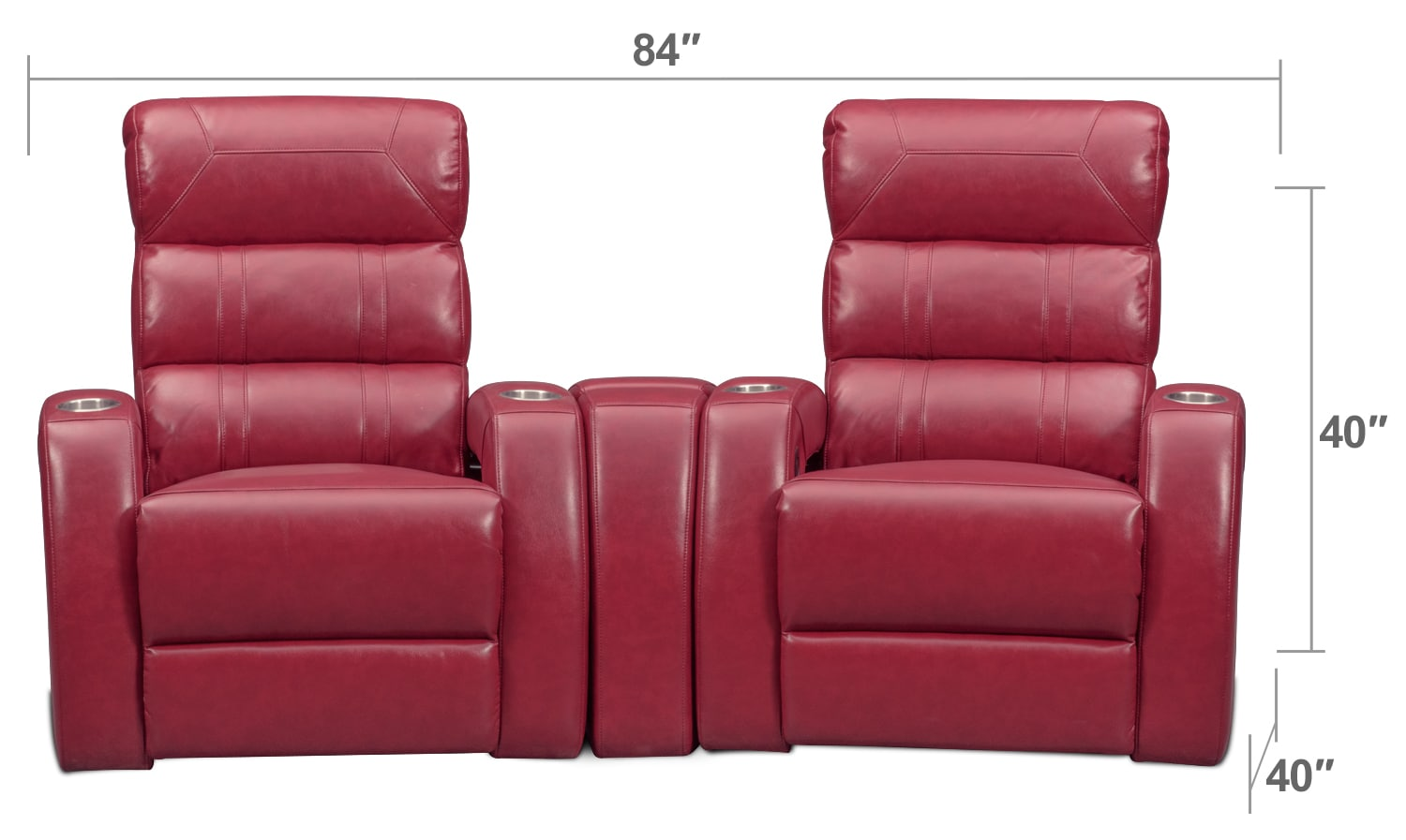 Living Room Furniture - Bravo 3-Piece Power Reclining Home Theater Sectional - Red