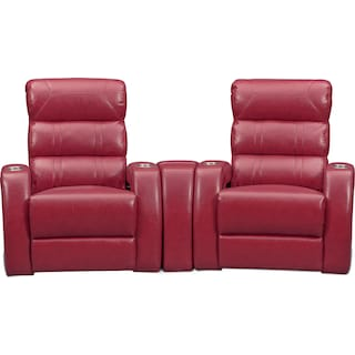 Bravo 3-Piece Power Reclining Home Theater Sectional - Red