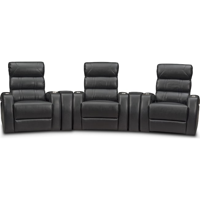 Living Room Furniture - Bravo 5-Piece Power Reclining Home Theater Sectional - Black