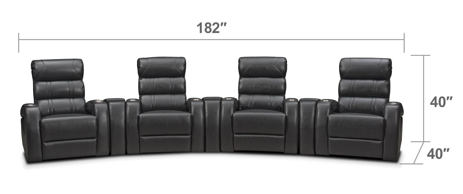 Living Room Furniture - Bravo 7-Piece Power Reclining Home Theater Sectional - Black