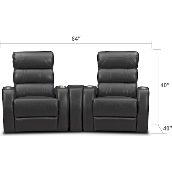Living Room Furniture - Bravo 3-Piece Power Reclining Home Theater Sectional - Black