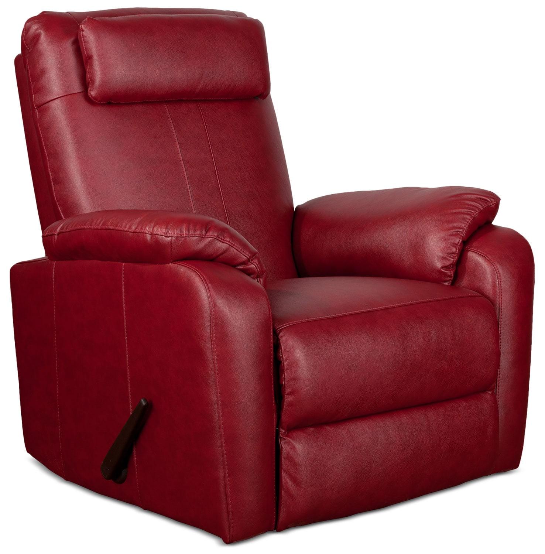 Living Room Furniture   Sparta Rocker Recliner   Red