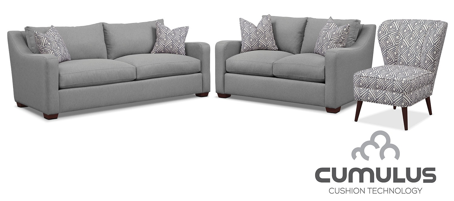 Living Room Furniture - Jules Cumulus Sofa, Loveseat and Accent Chair - Gray