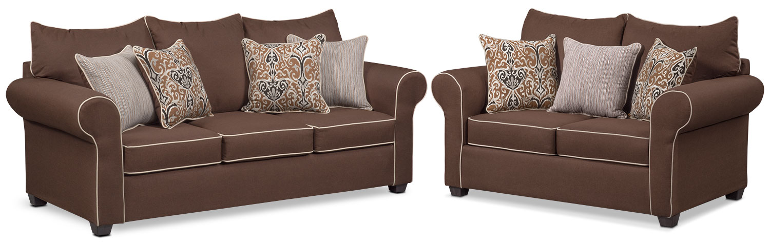 Living Room Furniture - Carla Queen Memory Foam Sleeper Sofa and Loveseat Set - Chocolate