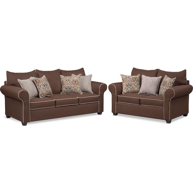 Living Room Furniture - Carla Sofa and Loveseat Set - Chocolate