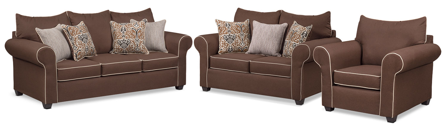 Carla Queen Memory Foam Sleeper Sofa, Loveseat and Chair Set - Chocolate