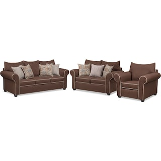 Carla Queen Memory Foam Sleeper Sofa, Loveseat, and Chair Set - Chocolate