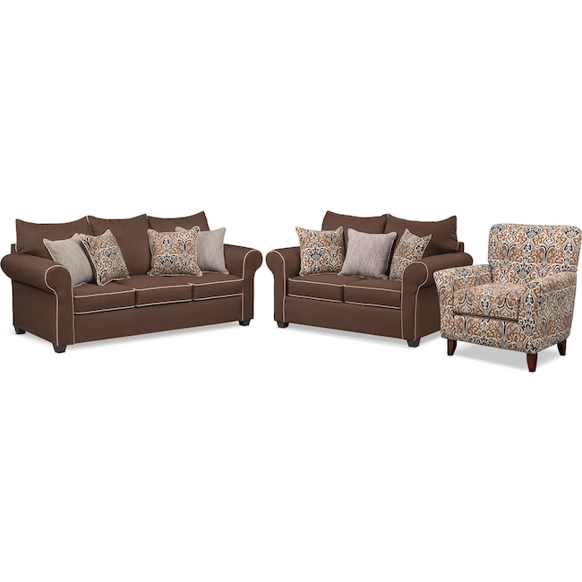 Living Room Furniture - Carla Queen Innerspring Sleeper Sofa, Loveseat and Accent Chair Set - Chocolate