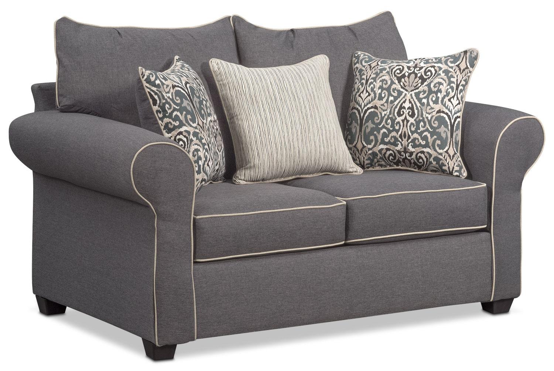 Living Room Furniture - Carla Loveseat - Gray