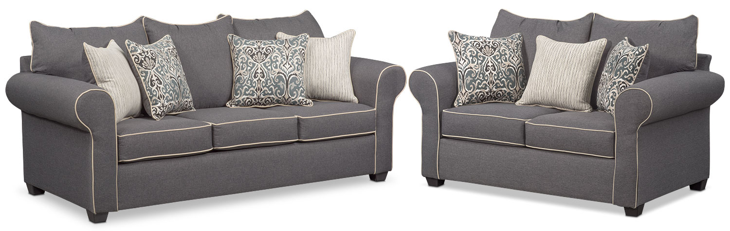 Living Room Furniture - Carla Queen Innerspring Sleeper Sofa and Loveseat Set - Gray