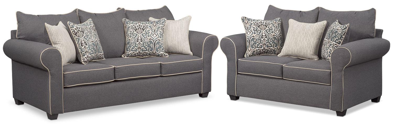 carla sofa and loveseat set gray value city furniture and mattresses rh valuecityfurniture com King Sleeper Value City Beds Sofa Sleeper Queen IKEA