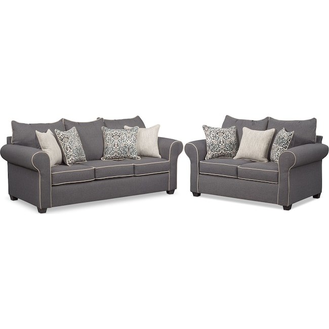 Living Room Furniture Carla Sofa And Loveseat Set Gray