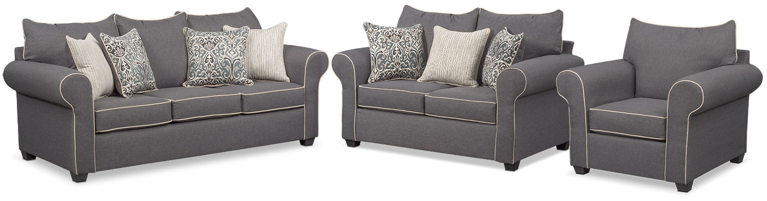 Living Room Furniture - Carla Sofa, Loveseat and Chair Set - Gray