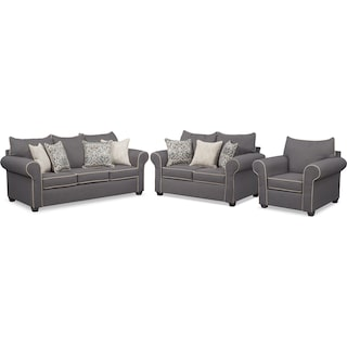 Carla Queen Innerspring Sleeper Sofa, Loveseat, and Chair Set - Gray