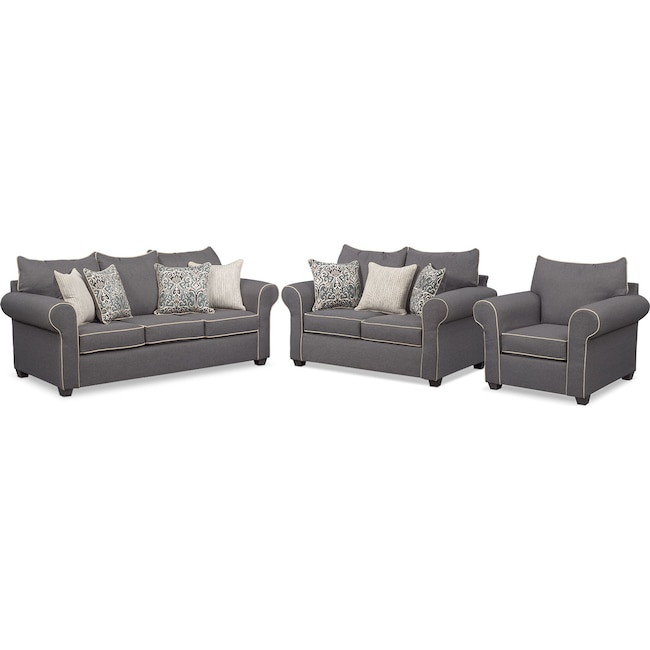 Living Room Furniture - Carla Sofa, Loveseat, and Chair Set - Gray