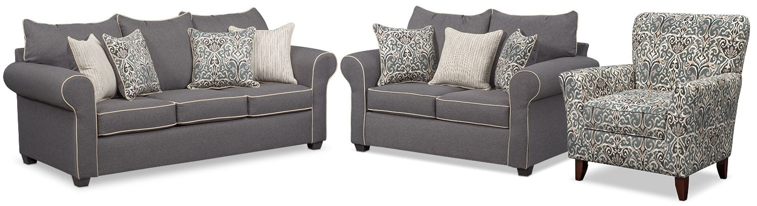 Carla Sofa Loveseat and Accent Chair Set Gray Value City