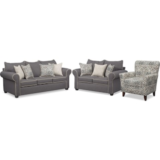 Carla Queen Memory Foam Sleeper Sofa, Loveseat, and Accent Chair Set - Gray