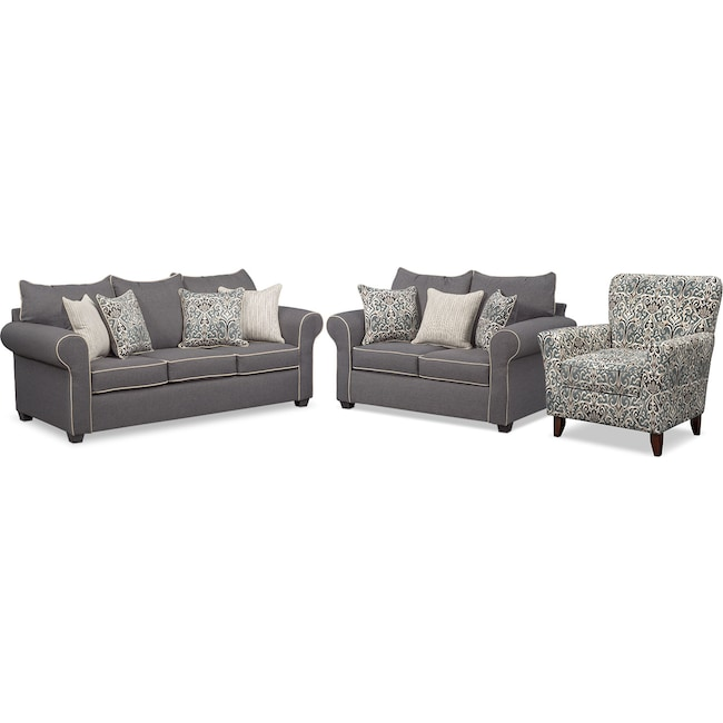Living Room Furniture - Carla Queen Memory Foam Sleeper Sofa, Loveseat and Accent Chair Set - Gray