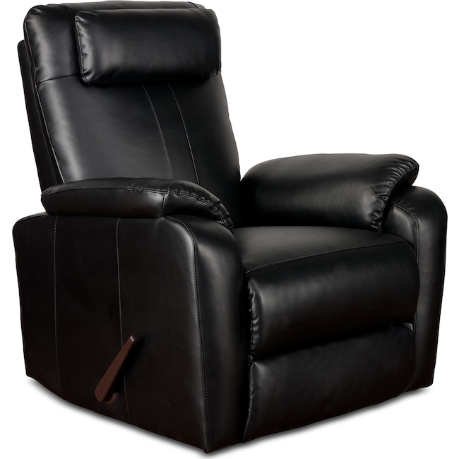 Living Room Furniture - Sparta Rocker Recliner - Black