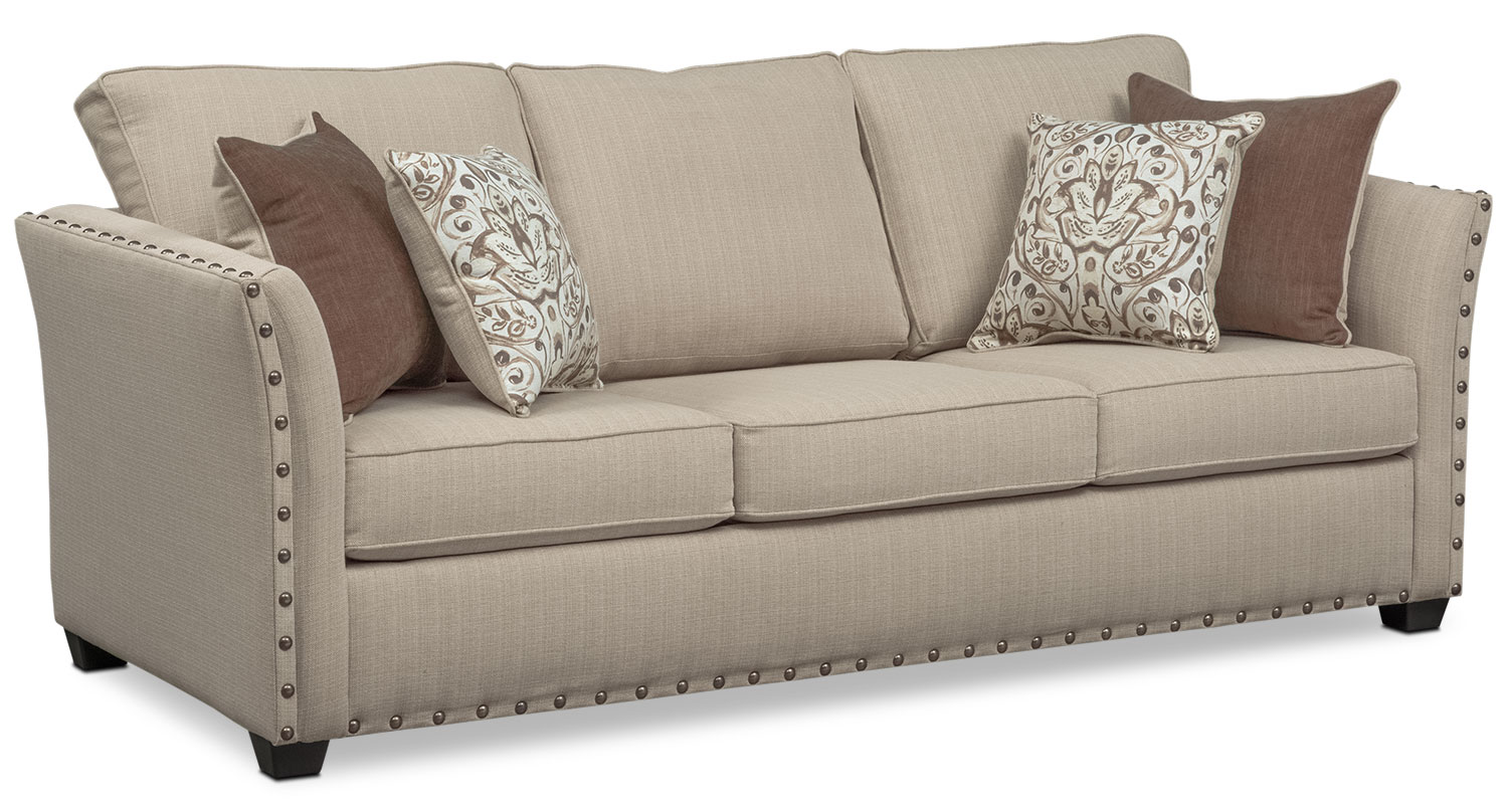 Delicieux Mckenna Queen Memory Foam Sleeper Sofa, Loveseat, And Accent Chair Set    Sand