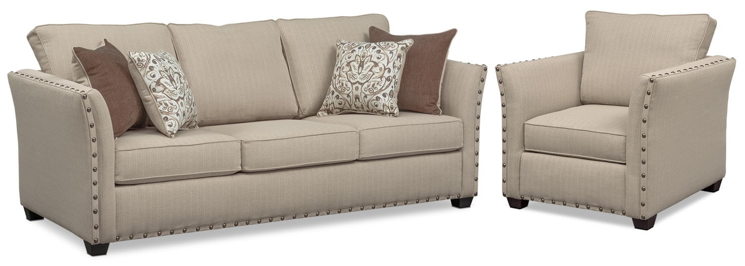 Living Room Furniture - Mckenna Queen Memory Foam Sleeper Sofa and Chair Set - Sand