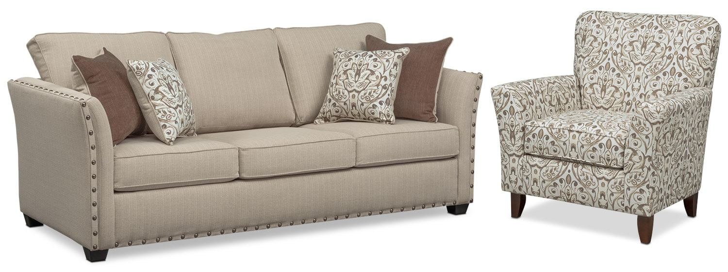 Living Room Furniture - Mckenna Queen Innerspring Sleeper Sofa and Accent Chair Set - Sand