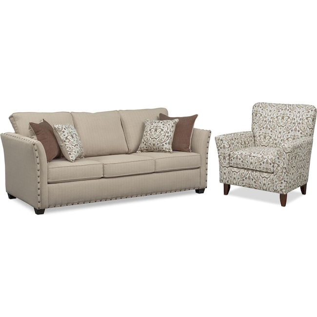Living Room Furniture - Mckenna Sofa and Accent Chair Set - Sand