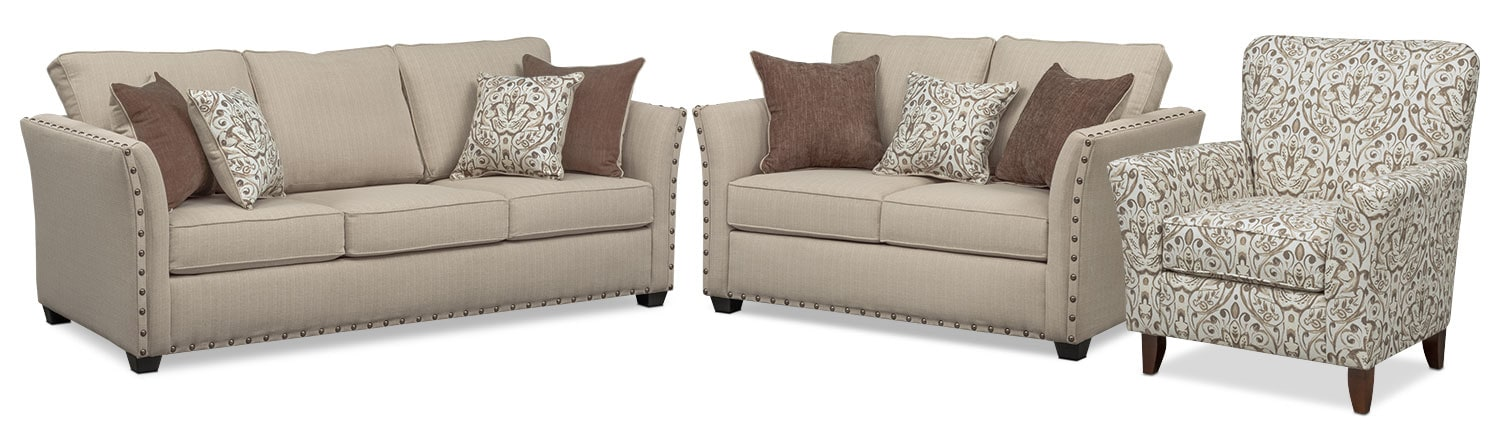 Living Room Furniture - Mckenna Queen Memory Foam Sleeper Sofa, Loveseat, and Accent Chair Set - Sand