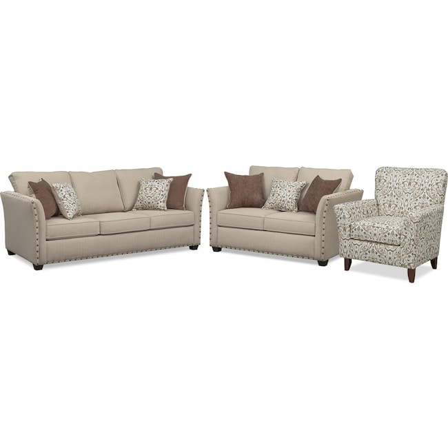 Living Room Furniture - Mckenna Sofa, Loveseat, and Accent Chair Set - Sand