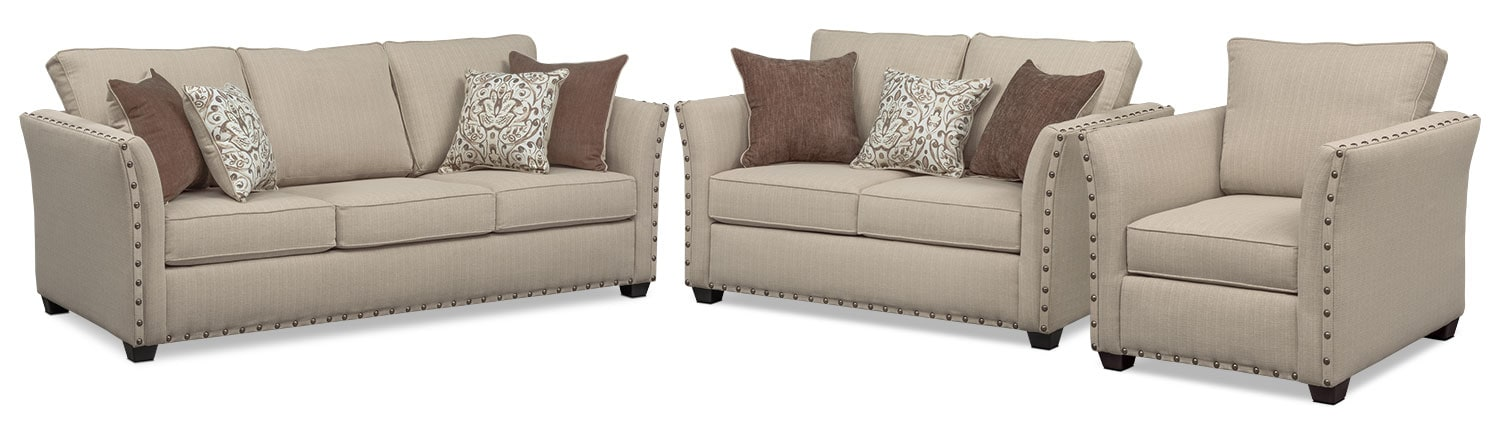 Living Room Furniture - Mckenna Queen Memory Foam Sleeper Sofa, Loveseat, and Chair - Sand