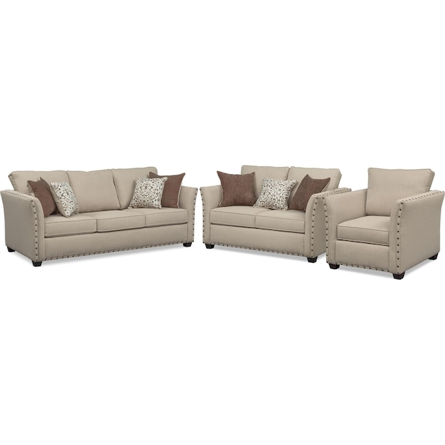 Living Room Furniture - Mckenna Sofa, Loveseat, and Chair Set - Sand