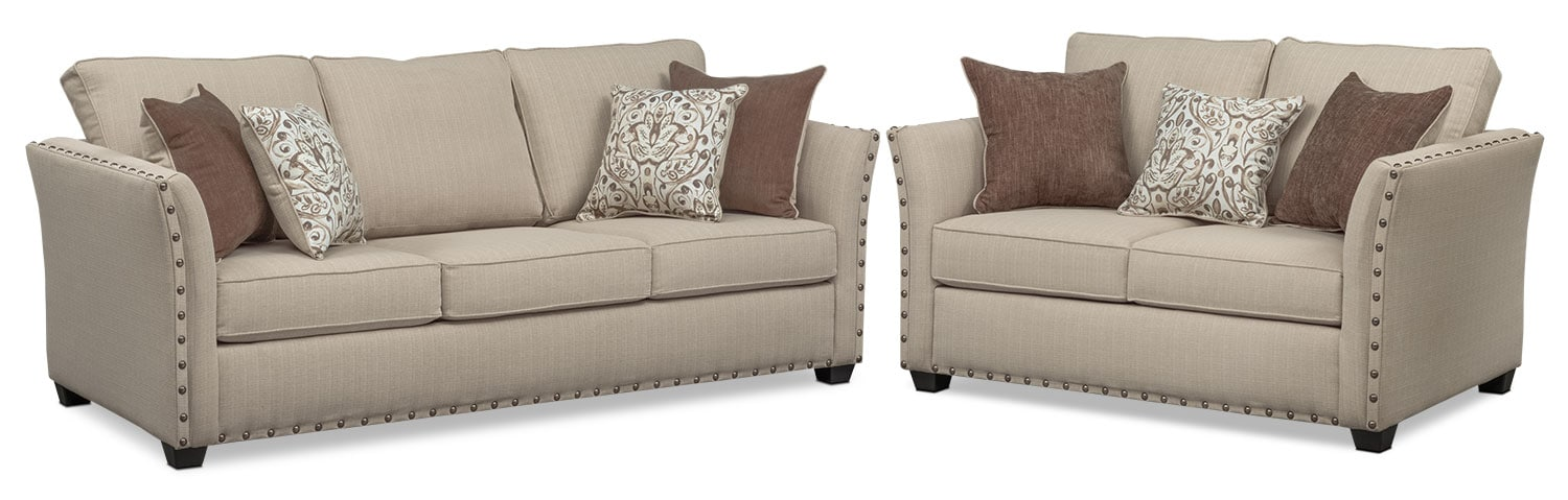 Mckenna Sofa and Loveseat Set - Sand