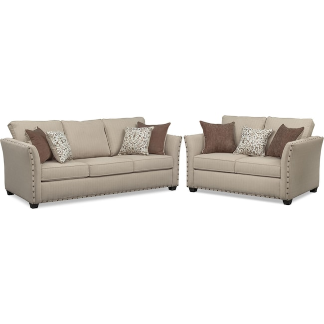 Living Room Furniture - Mckenna Sofa and Loveseat Set - Sand