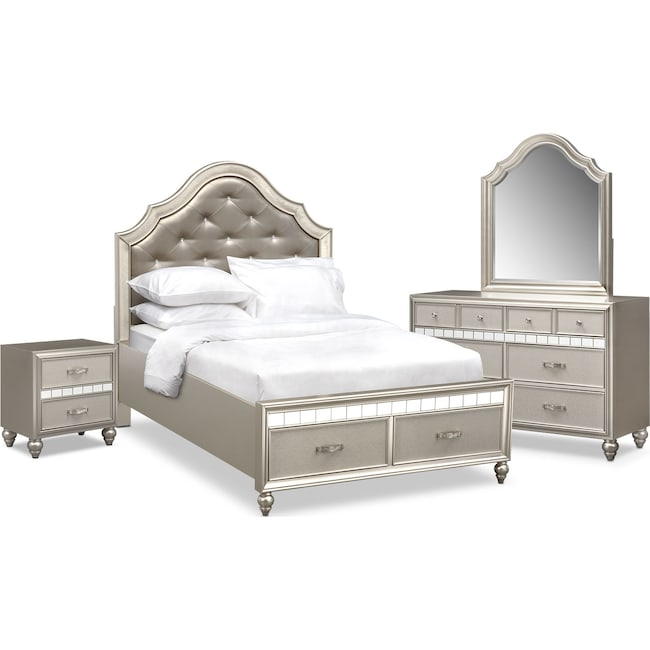 Kids Furniture - Serena Youth 6-Piece Full Storage Bedroom Set - Platinum