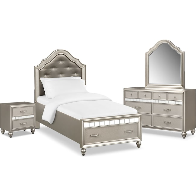 Kids Furniture - Serena Youth 6-Piece Twin Storage Bedroom Set - Platinum