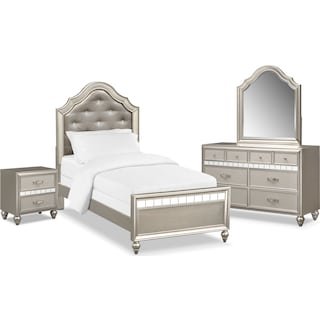Serena Youth 6-Piece Twin Bedroom Set - Platinum
