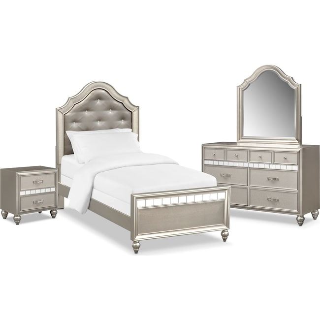 Bedroom Furniture - Serena Youth 6-Piece Twin Bedroom Set - Platinum